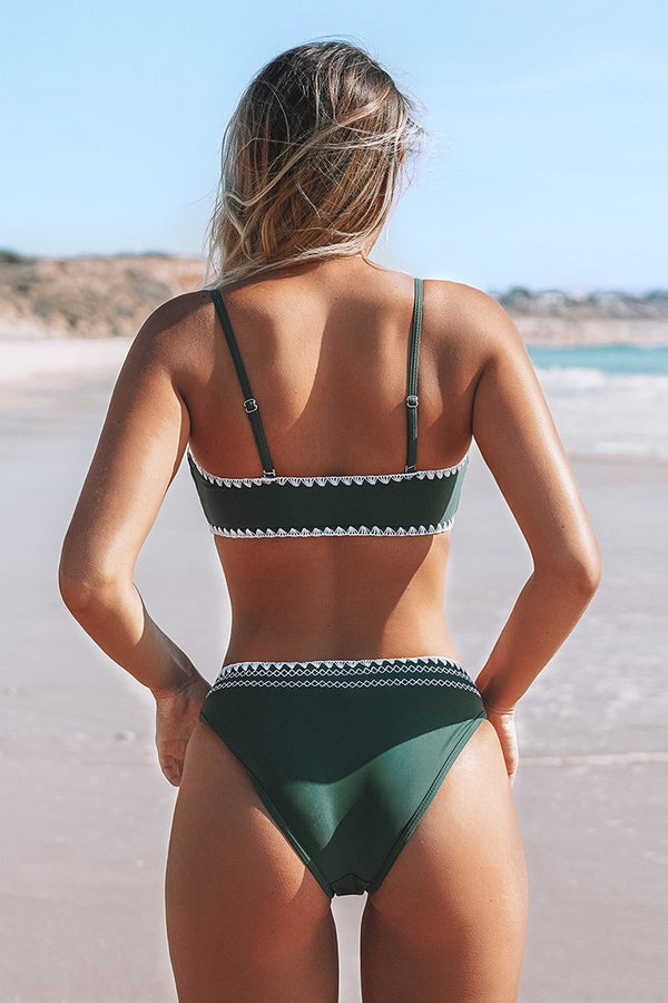 Green with White Crochet Trim Bandeau Bikini