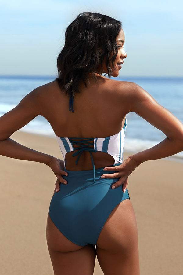 Blue Striped Cutout Halter One-Piece Swimsuit