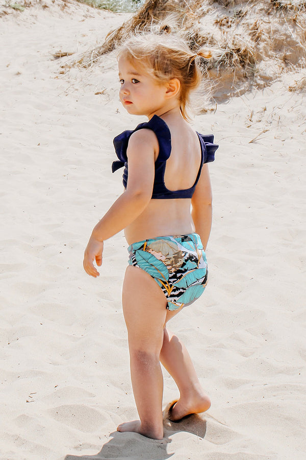 Ruffle Shoulder and Leafy Bikini For Toddler Girls and Girls