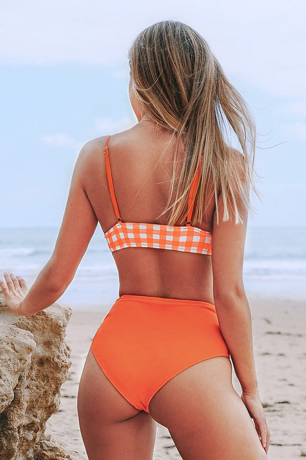 Orange Gingham and Solid Bikini