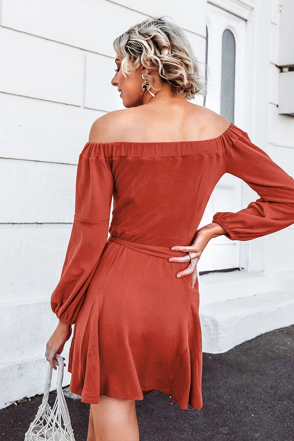 Red Off-The-Shoulder Mini Dress
