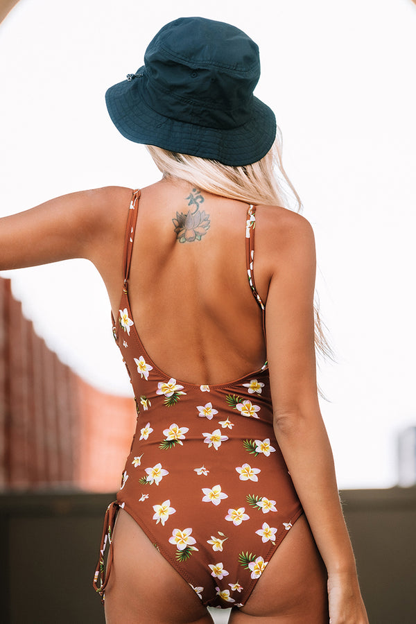 Floral Lace-Up One-Piece Swimsuit