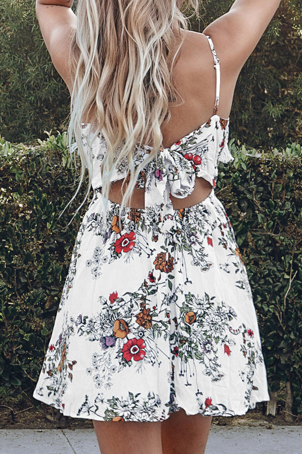 White Floral Dress with Crochet