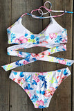 Cupshe Floral Authority Cross Halter Bikini Set
