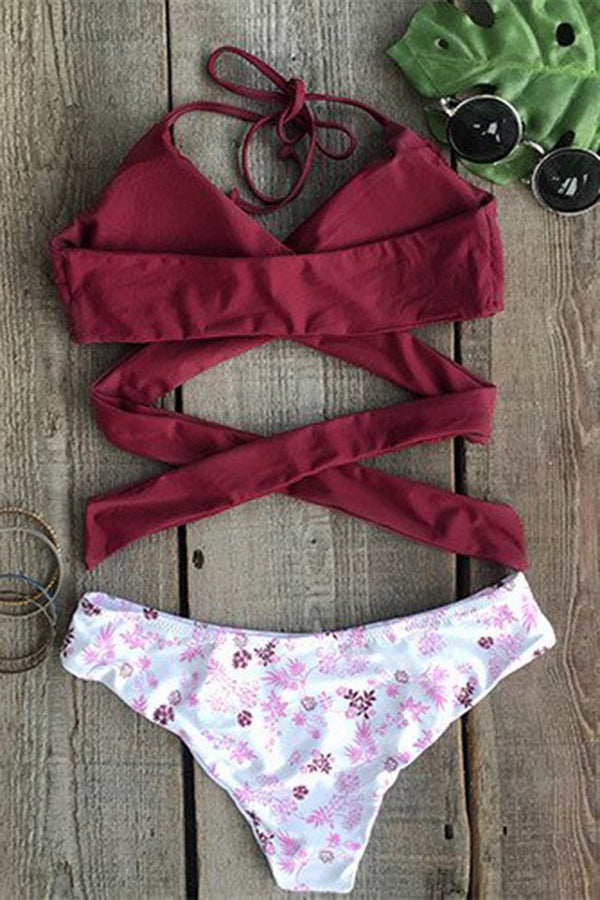Fall Floral Cross Bikini Set