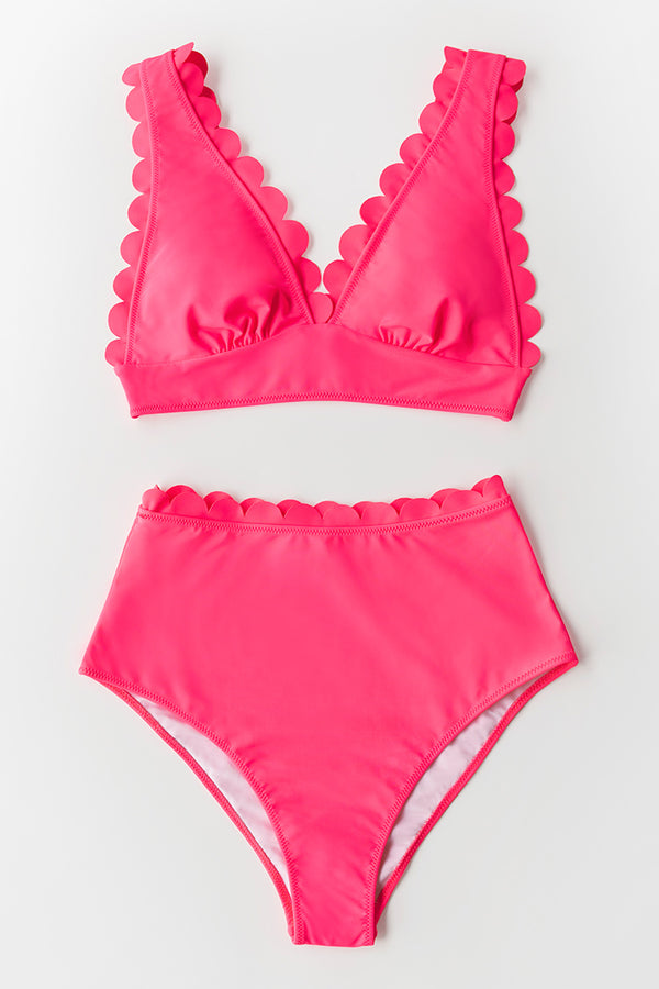 Neon Pink Scalloped Bikini Top