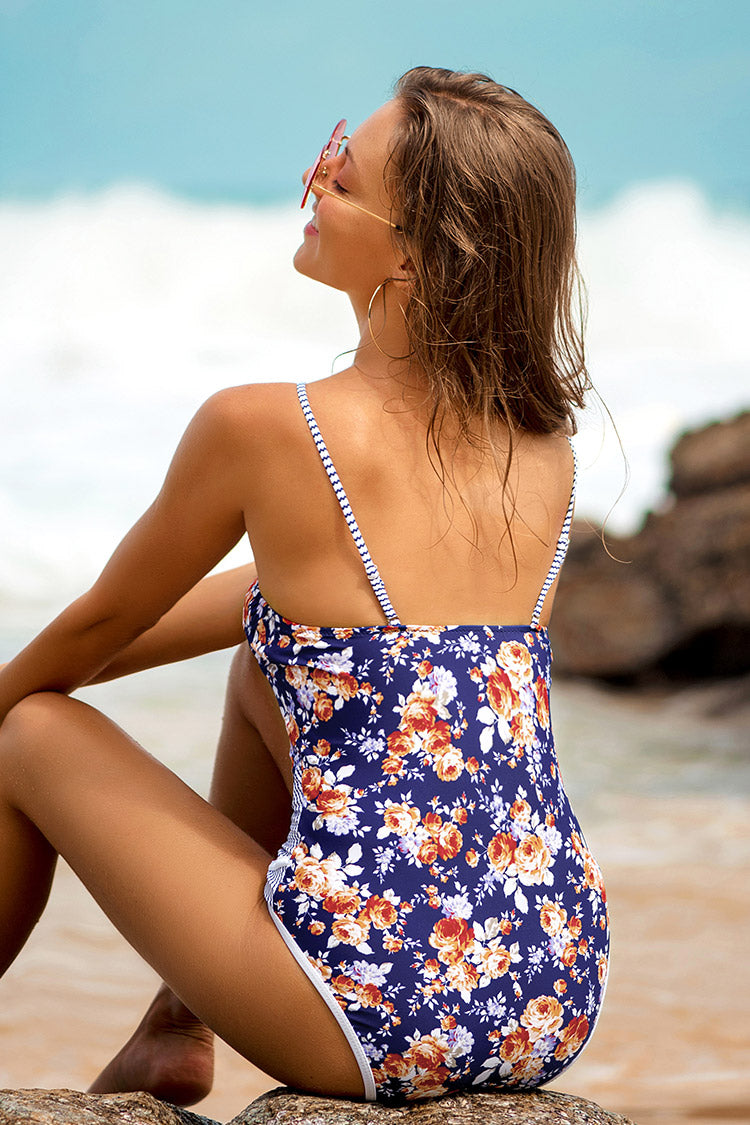 Navy Print Plunging Neckline One-Piece Swimsuit