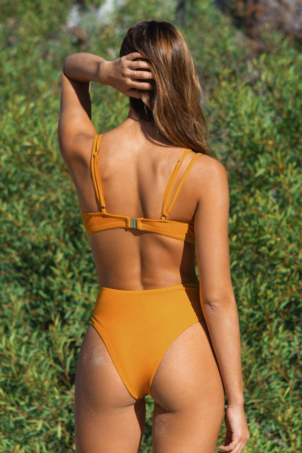 Yellow Double Straps High Waisted Bikini
