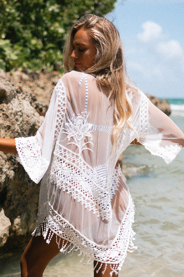 White Crochet Tassels Cover Up