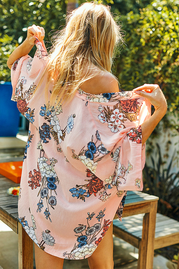 Pink Floral Print Kimono Cover Up