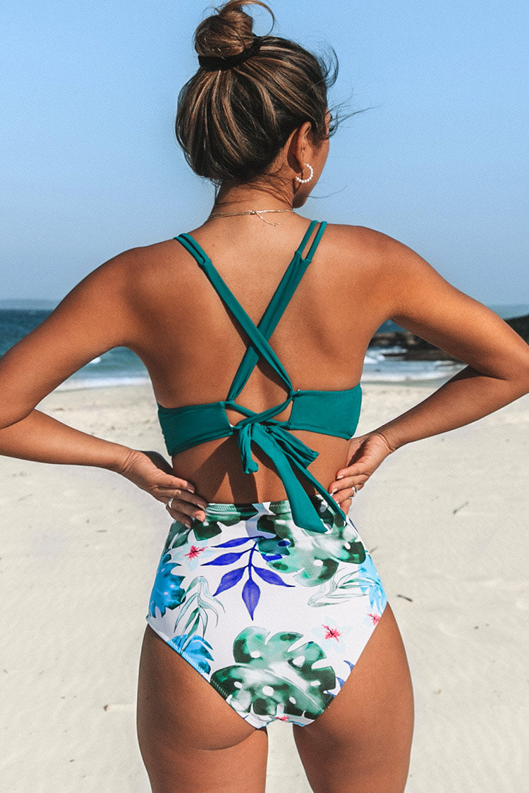 Tropical Palms Twist-Front High Waisted Bikini