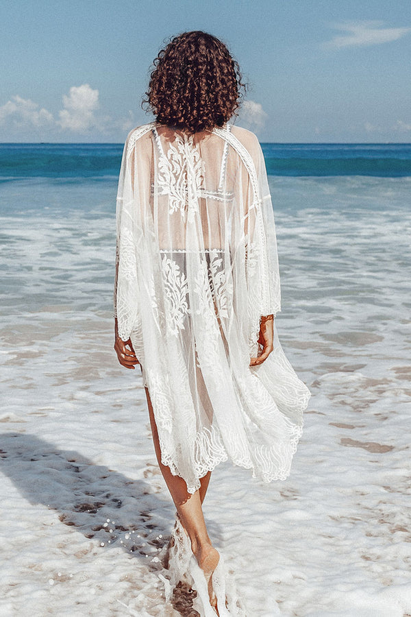 White Embroidery Bell Sleeve Cover Up