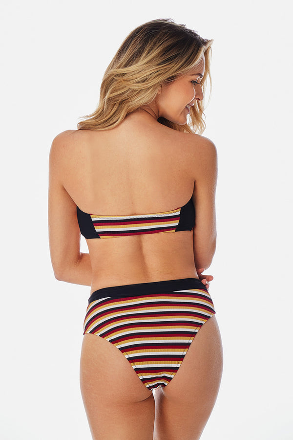 Striped Bandeau Drawstring Bikini
