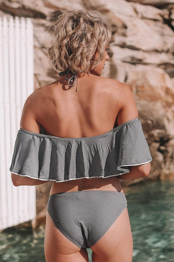 Gray Ruffle Off-The-Shoulder Bikini