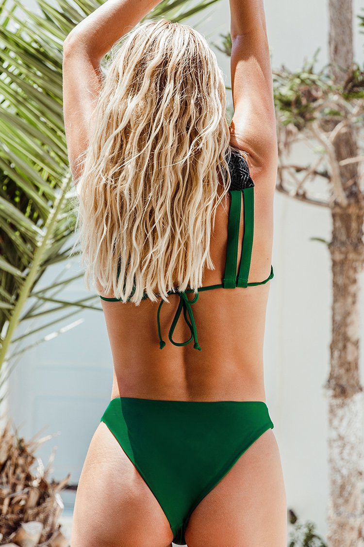 Green Wide Strap V-Neck Bikini