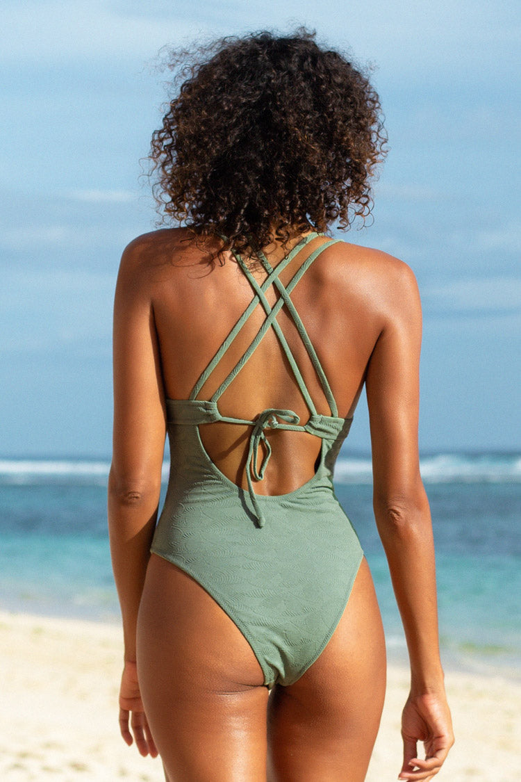 Green O-Ring Double Crisscross One Piece Swimsuit