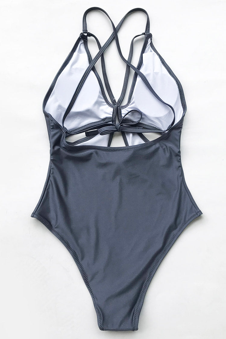 Gray Space Solid One-piece Swimsuit