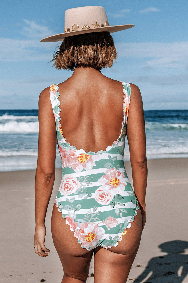 Floral and Striped Scalloped One Piece Swimsuit