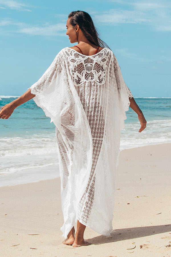 White Sheer Embroidery Long Cover Up
