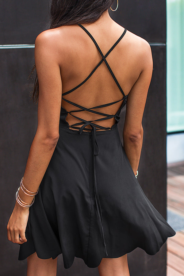 Black Fit and Flare Lace-Up Dress