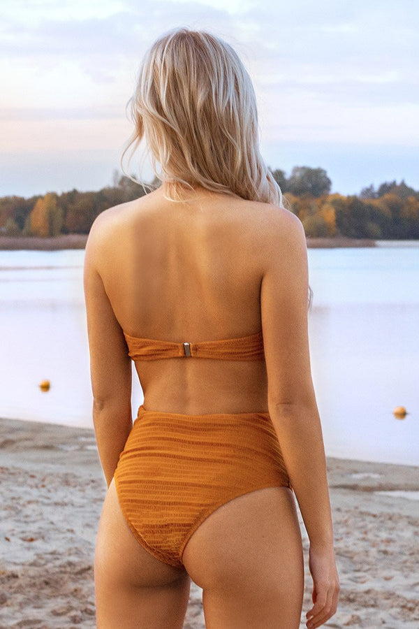 Orange Front Twist High Waisted Belted Bikini