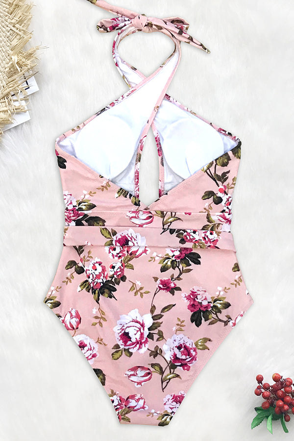 Pink Floral Belted One-Piece Swimsuit