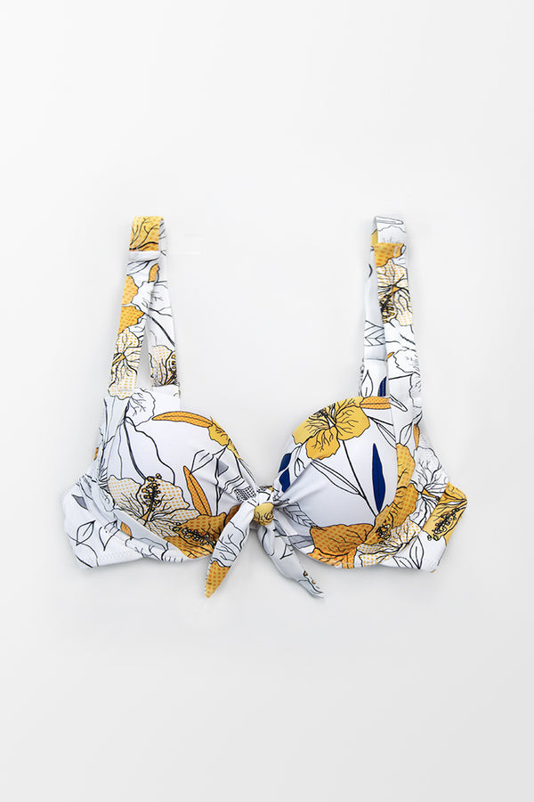 White Floral Wide Straps Knotted Bikini Top