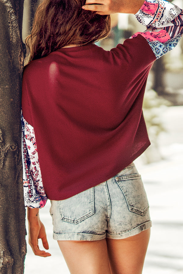 Red Mixed Media Long Sleeve Top