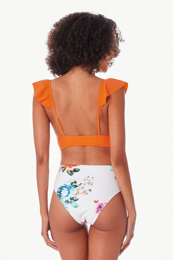 Orange Ruffled Cutout High Waisted Bikini