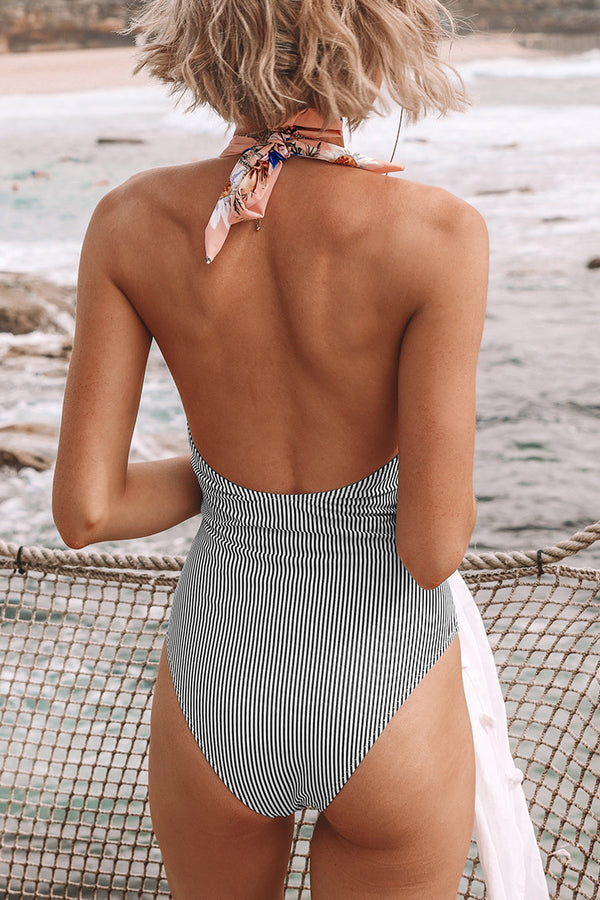 Pink Floral And BlacK Striped Halter One-Piece Swimsuit