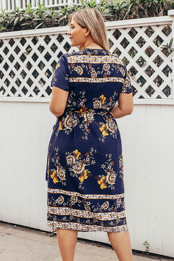 Navy Floral Wrap Plus Size Dress
