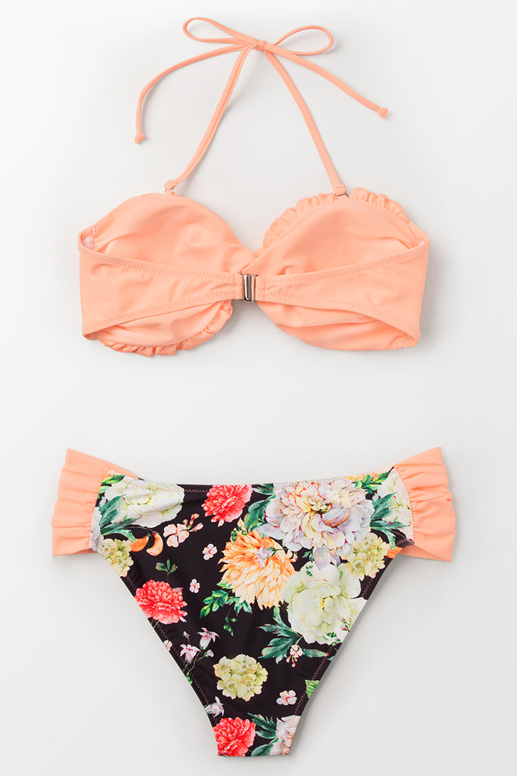 Peach And Floral Bandeau Bikini