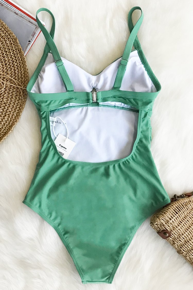 Green Grass Solid One-piece Swimsuit