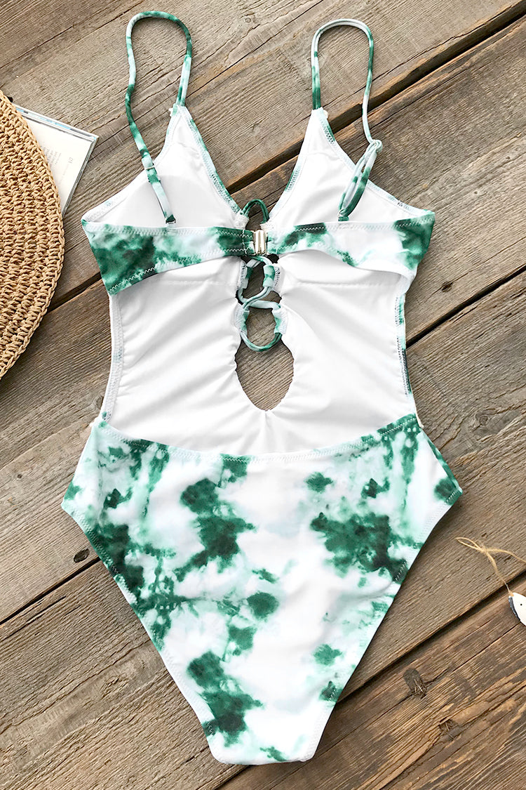 Emerald Green Tie-dye One-piece Swimsuit