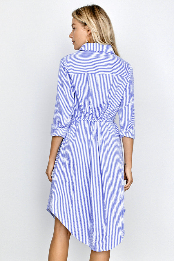 Classic Striped Belted Shirt Dress
