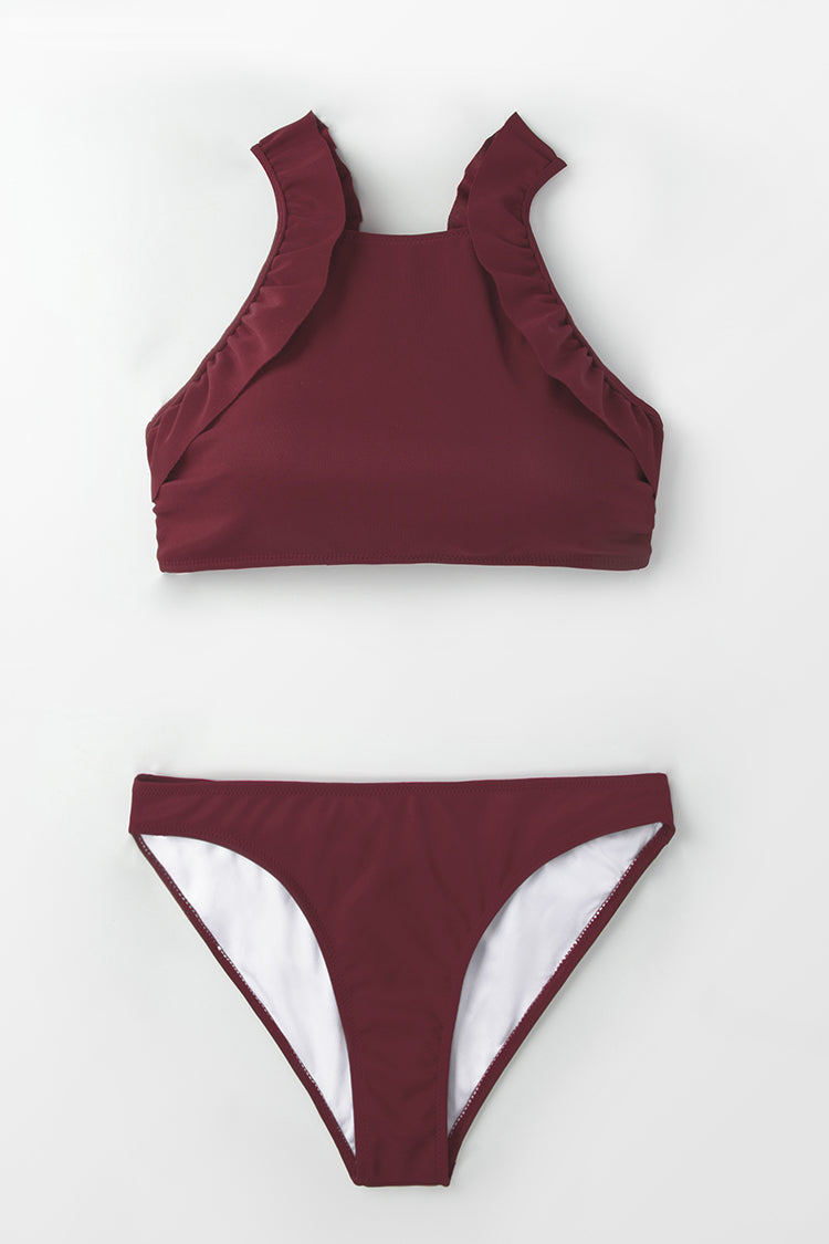 High-Neck Burgundy Ruffled Bikini