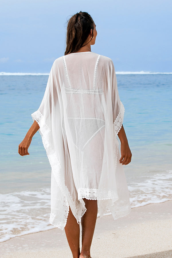 White Crochet Trim Cover Up