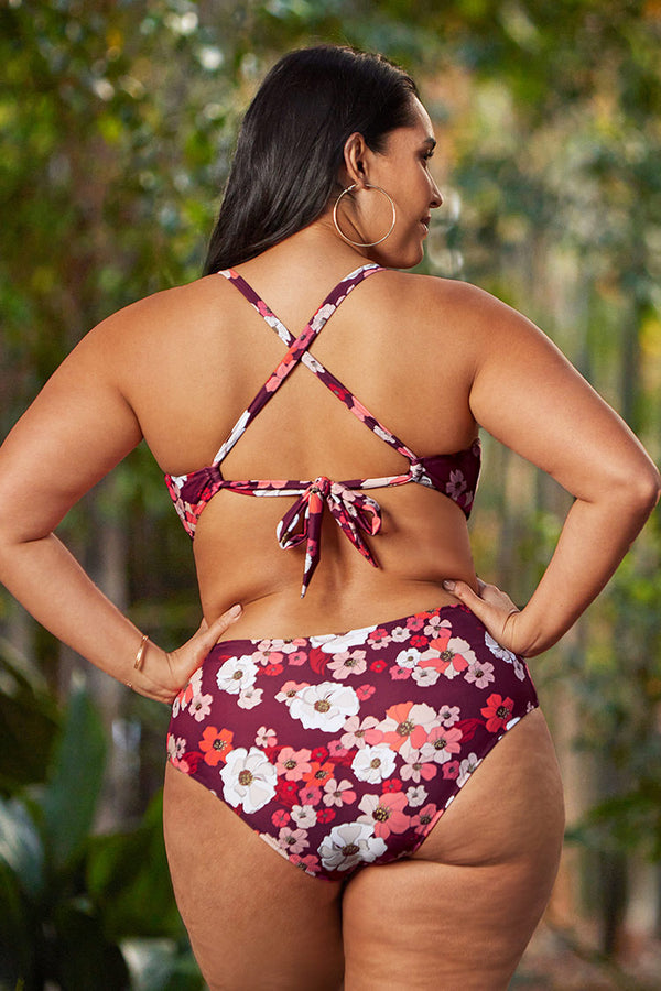 Olivia Floral Cutout Plus Size One Piece Swimsuit