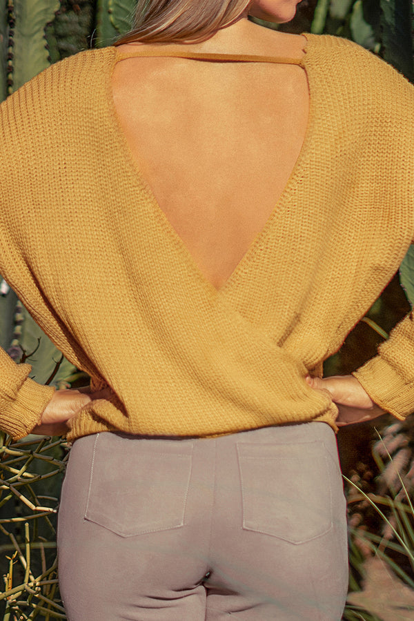 Mustard Yellow Open Back Sweater