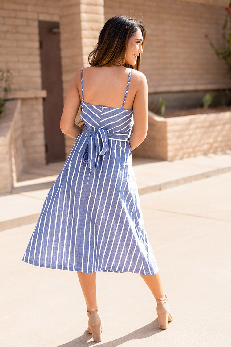 Blue and White Stripe Buttoned Dress