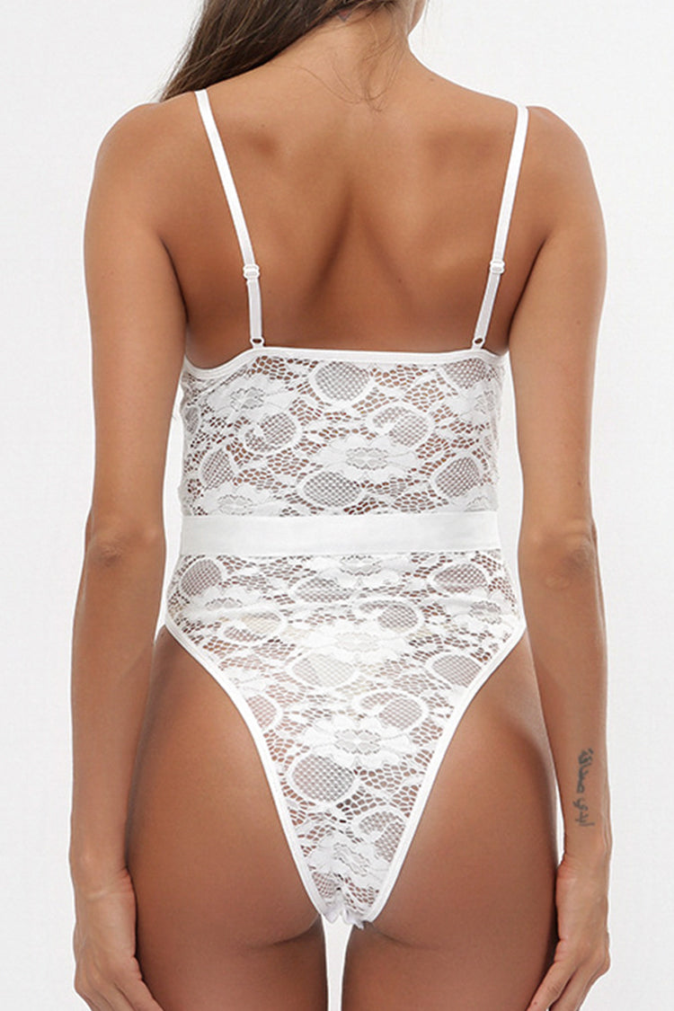 White Lace High-Leg Teddy
