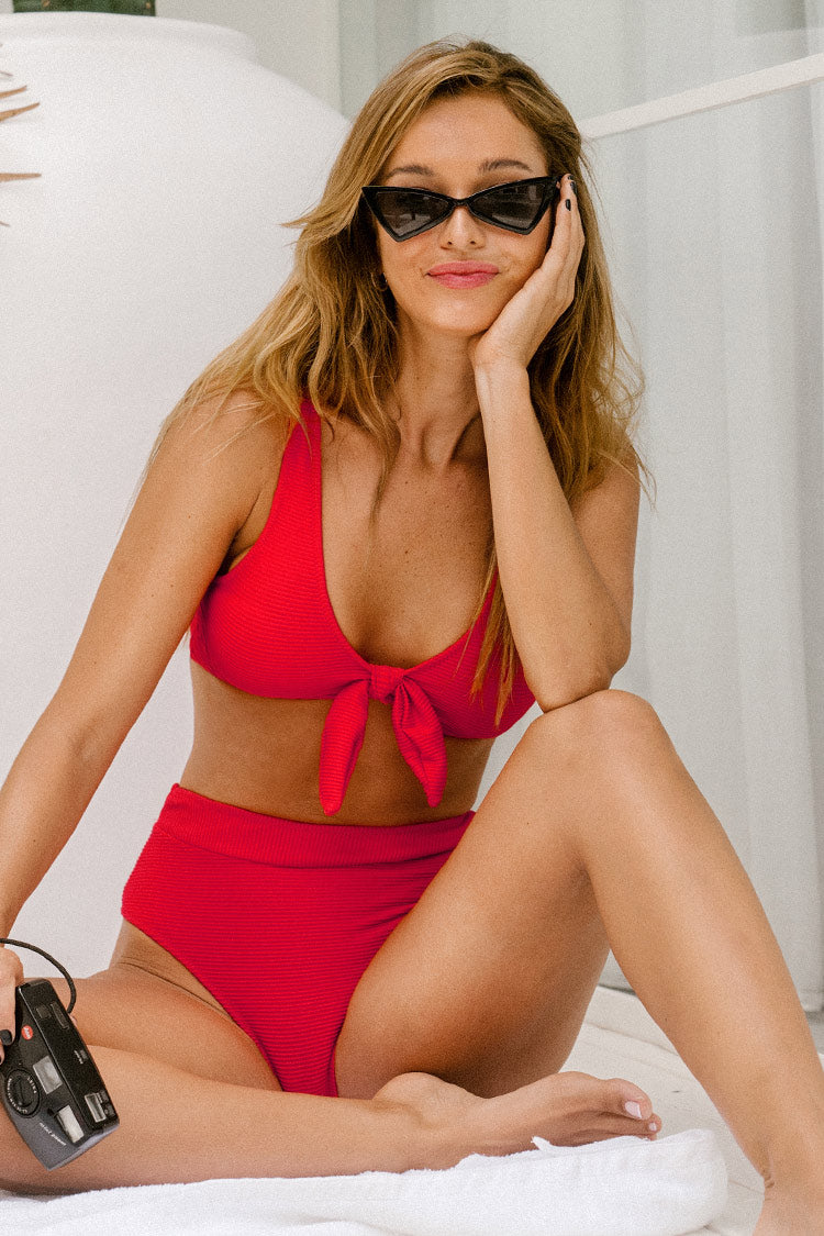 Ribbed Red Bowknot Bikini