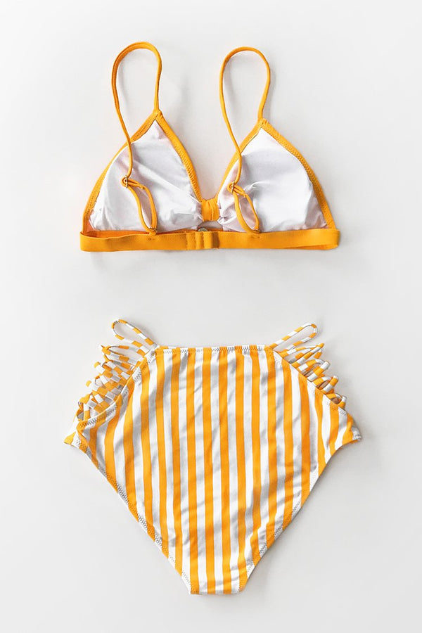 Orange and Strappy High-Waisted Bikini