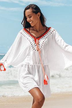 White Tunic Red Trim Cover Up