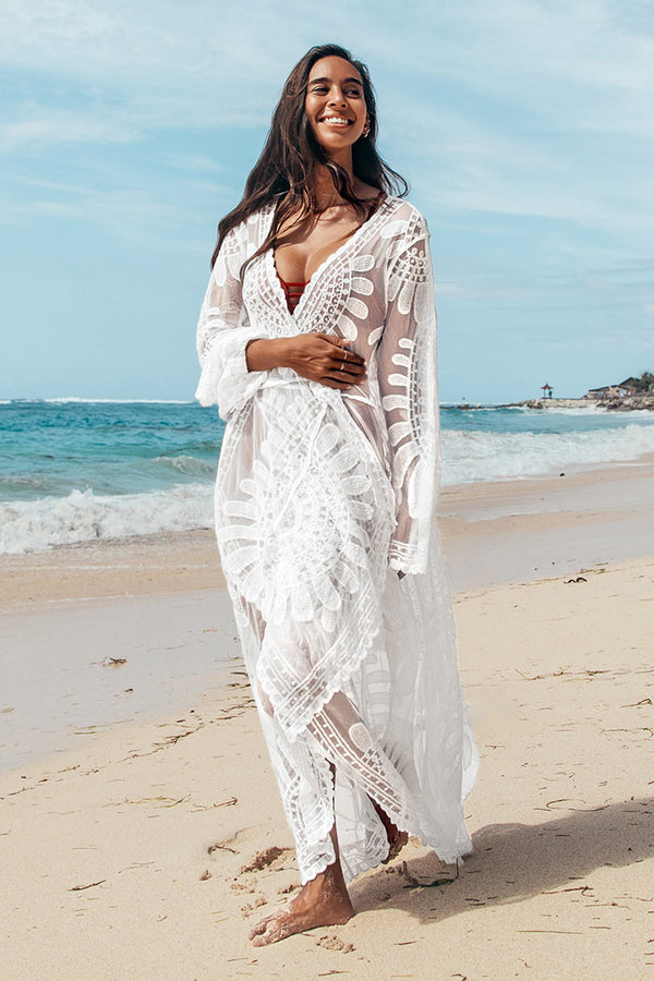 Floral Mesh Long Kimono Cover Up