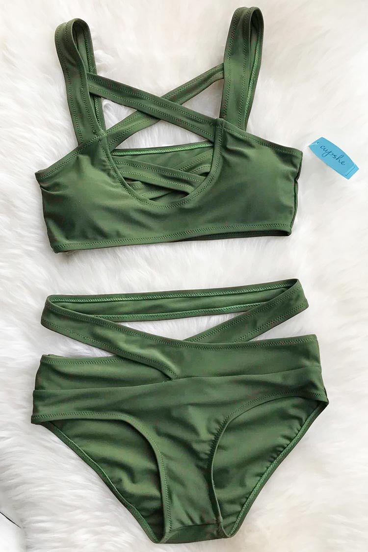 Cupshe Cross Me Olive Green Bikini Set