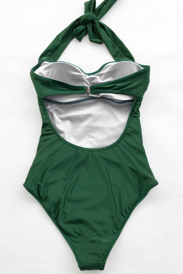 Forest Green Shirring One-piece Swimsuit