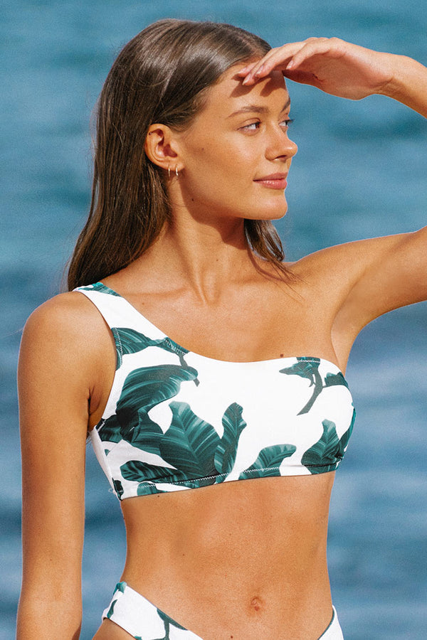 Leafy One Shoulder Bandeau Bikini Top