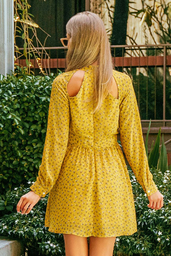 Sweet Yellow Floral Dress