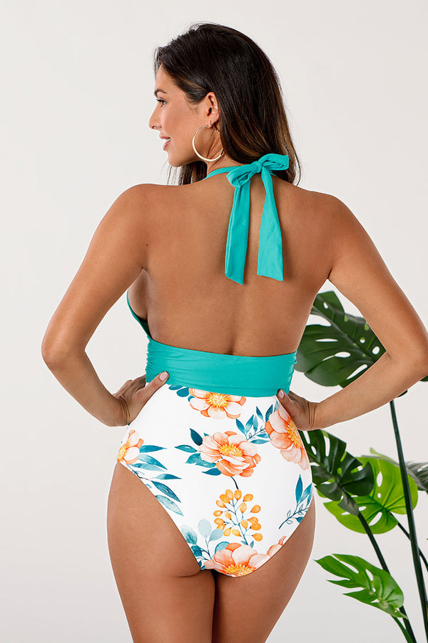 Plunge Neck Halter Backless One-Piece Swimsuit